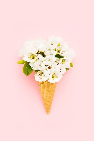 Waffle ice cream cone with blooming pear flower on pink background. Spring concept. Copy space for text, top view