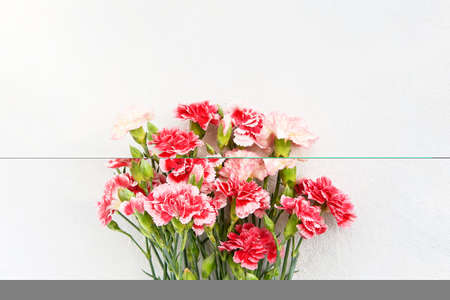 Bouquet of red and white carnation flowers on light background. Mothers day, Valentines Day, Birthday celebration concept. Copy space for text, top view
