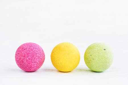 Three colorful bath bombs on white 版權商用圖片