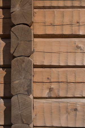 hand carved: Hand carved log wall, texture material for architecture 3D modeling. Horizontal light brown logs with joint in the corner.