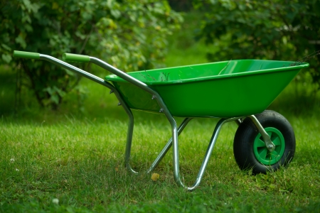 homing: Green wheelbarrow in green garden, green background. New.