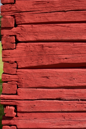 hand carved: Red painted, hand carved old log wall, texture material for architecture 3D modeling. Horizontal red logs. traditional.