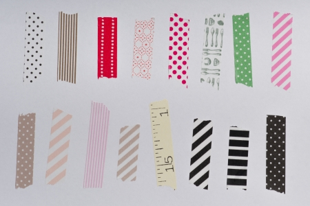 masking tape: Washi tape, masking tape pieces, Isolated, white background.