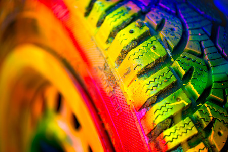 Macro shot of a painted tire