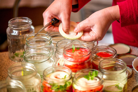 red onions: Canning fresh tomatoes with onions in jelly marinade. A shot of woman hands putting onion rings in jars and basil leaves on top of red ripe tomato slices and onions. Vegetable salads for winter. Stock Photo