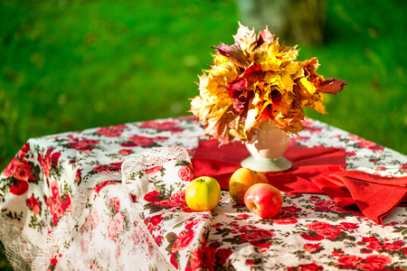 air dried: Golden autumn. Macro shot of natural linen tablecloth with rose print and crochet white lace trim, yellow apples and a vase, full of vibrant maple leaves on top of the table on colorful background