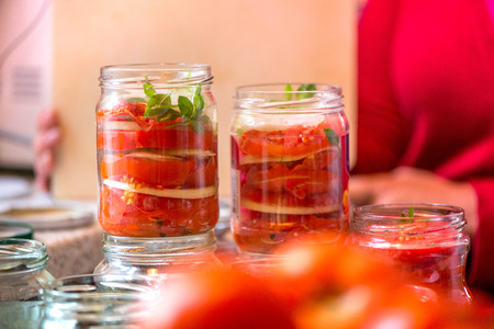 Canning fresh tomatoes with onions in jelly marinade. A shot of woman hands putting red ripe tomato slices and onion rings in jars and basil leaves on top of onions. Vegetable salads for winter.