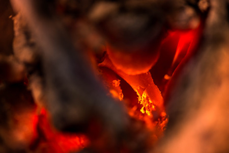 warmth: Ignite the fire. Warming up the cold winter nights. A macro shot of firewood, white dust and hot, glowing coal. Burning branches and wood. Flames in the fireplace, cozy home, warmth, love, romantic