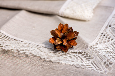 white trim: Macro shot of a pine cone, linen tablecloth, napkins and towels with crochet white lace trim Stock Photo