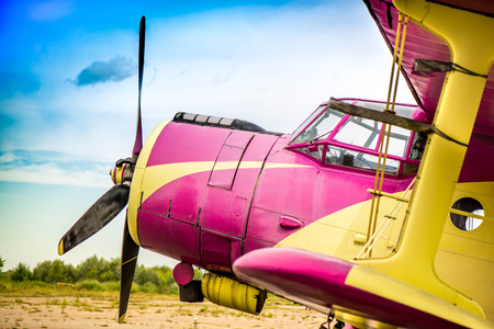 Abstract, old yellow, pink, purple plane in abandoned airport next to dark forest in an overcast day. Military plane, russian aircraft. Soviet mass-produced single-engine biplane at field aerodrome. Editorial