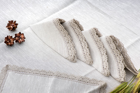 Shot of linen tablecloth and napkins with lace trim and pine cone 版權商用圖片