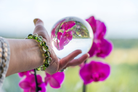 Woman's hand with gemstone bracelet holding large crystal ball with world and orchid flower reflection in it. Esoteric background, healing and powerful crystal energy