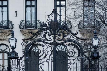 Black, decorative metal gates with ornaments in front of an abandoned building Foto de archivo