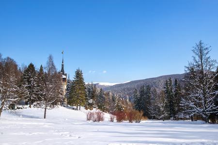 Peles castle in Romania. Beautiful, royal castle in snowy, white winter. 版權商用圖片