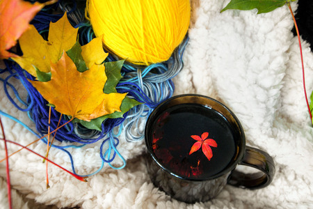 Colorful autumn background. Cup or mug of hot red fruit tea with smoke in cosy room. Fluffy blanket, yarn and leaves creating an inviting, warm atmosphere at home.