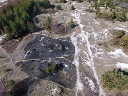 Aerial shot of burned meadow after cleaning the fields from dry grass and reeds. Forest fire and destruction in nature.