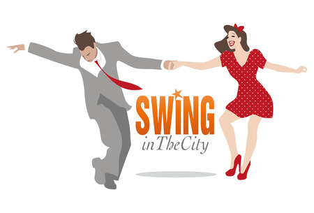 Swing in the City. Knappe man en pin-up girl dancing swing