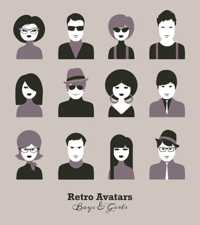 boys and girls: Vector icon set of boys girls avatar sixties style