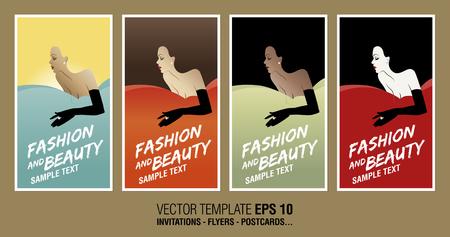 stylish women: Stylish women Template Design Mark for invitations, cards, postcards...