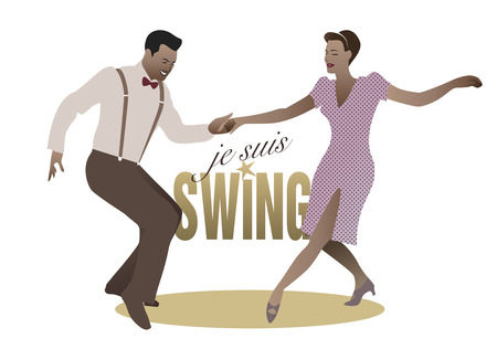 Elegant couple swing dancing Stock Illustratie