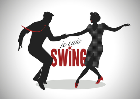tap dance: Elegant silhouette couple swing dancing