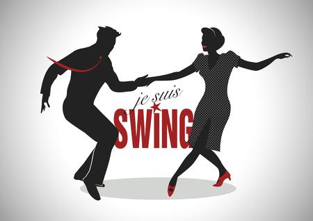 Elegant silhouette couple swing dancing