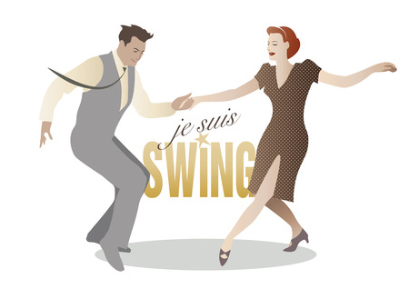 Elegant paar swing dansen Stock Illustratie