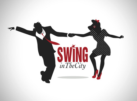 tap dance: Handsome man and pin-up girl dancing swing