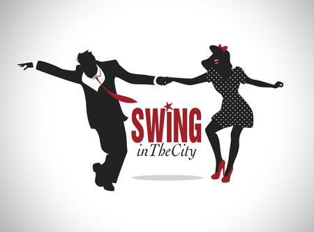 Przystojny mężczyzna i pin-up girl dancing huśtawka