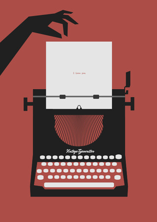 old typewriter: Old typewriter and hand. Vector illustration on a red background. Retro style Illustration