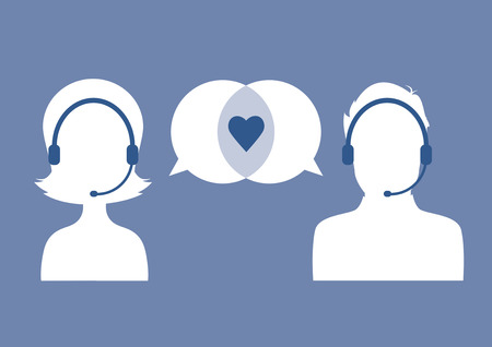 call centre girl: Customer service silhouettes talking about love