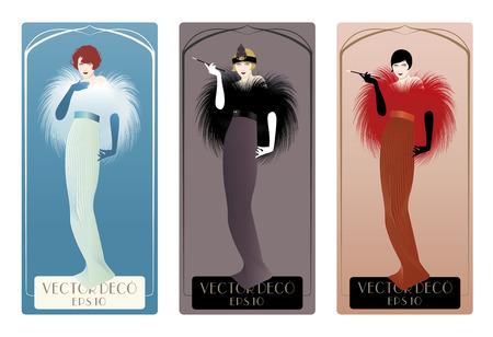 Three women elegant vintage style and art dec