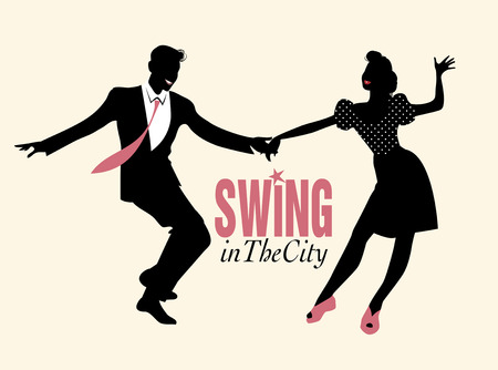 Handsome man and pin-up girl dancing swing