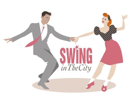 ハンサムな男、ピンナップ ガール ダンス スイングします。