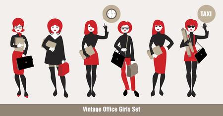 sixties: Avatars Office Girls. vintage Style Illustration