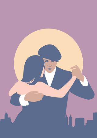 Tango Dancers. A couple dancing tango. Pastel colors. Vector Illustration