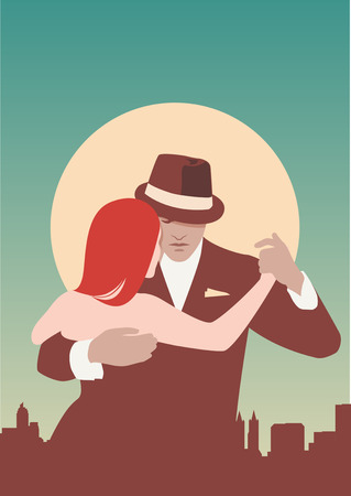 Tango Dancers. A couple dancing tango. Pastel colors. Stock Vector - 54638491