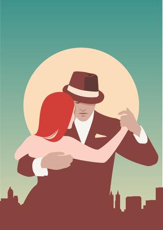 Tango Dancers. Een paar dansen tango. Pastelkleuren.