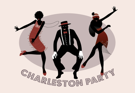 Man and funny girls dancing charleston. 1920s style