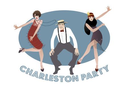 flapper: Hombre y chicas bailando charleston divertidos. estilo de los años 1920 Vectores