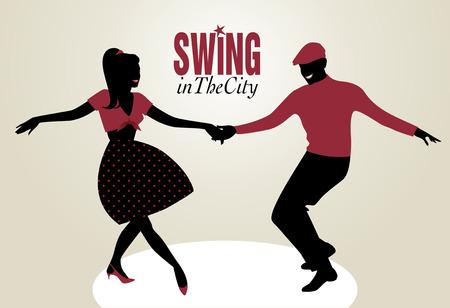 Knappe man en pin-up girl dancing swing Vector Illustratie