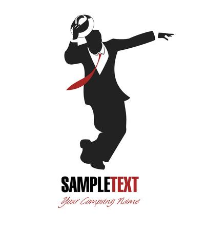 homme simple balançoire danse silhouette.