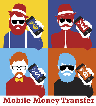 smart man: Modern business man showing smart phone. Hipster & pop style.