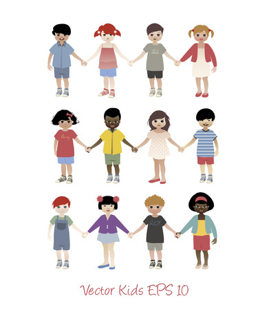 group of kids: Set of little kids holding hands isolated. avatars