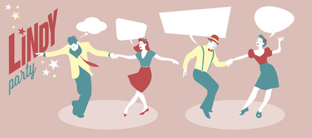jive: Lindy & Swing Party. Two young couples dancing swing or lindy hop