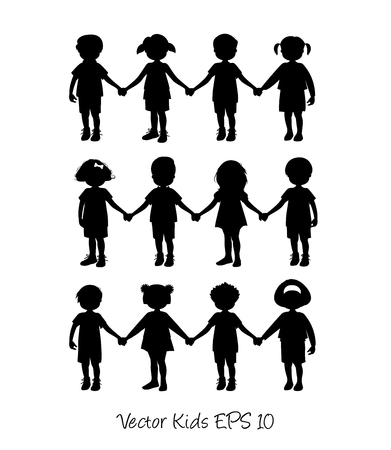 Set van kleine kinderen geïsoleerd hand in hand Stock Illustratie