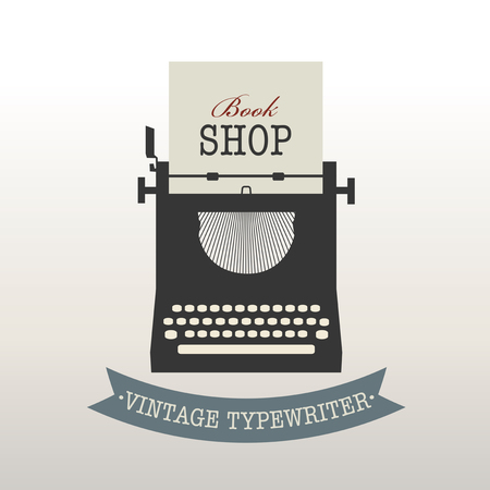 type writer: Vintage style design logo or label: Typewriter Illustration