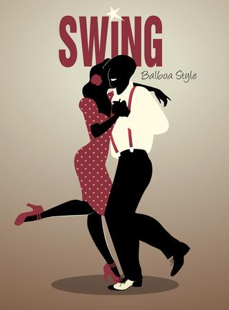Bel homme et de swing danse fille pin-up