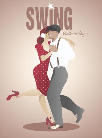Przystojny mężczyzna i pin-up girl dancing huśtawka Ilustracje wektorowe