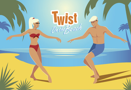 Young couple dancing twist on the beach. Retro style. Illustration